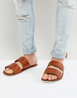 ALDO Кожаные сандалии-слипоны с двумя ремешками Delpizzo. Цвет: рыжий