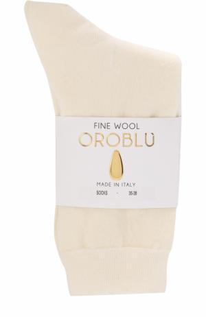 Однотонные шерстяные носки Oroblu. Цвет: кремовый