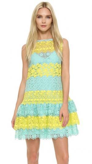 Кружевное платье без рукавов Moschino. Цвет: голубой/желтый
