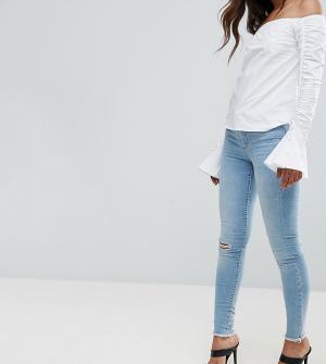 Vero Moda Tall Зауженные джинсы с рваными коленями. Цвет: синий