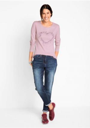 Кофточка с длинными рукавами. Цвет: дымчато-розовый, серый меланжевый