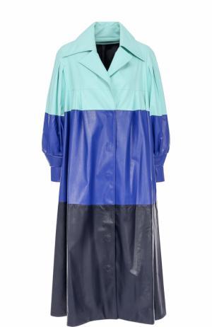 Кожаное пальто свободного кроя в полоску Vika Gazinskaya. Цвет: разноцветный