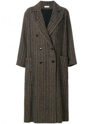 Двубортное пальто свободного кроя Masscob. Цвет: коричневый