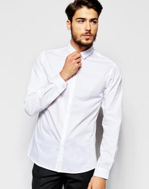 Noak Рубашка скинни с миниатюрным воротником. Цвет: белый
