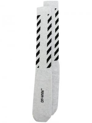 Diagonal striped socks Off-White. Цвет: белый