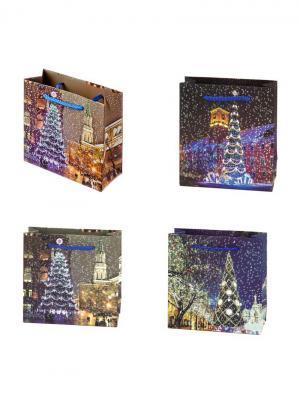 Пакет бумажный подарочный, 15х14х6см,4 штуки СНОУБУМ. Цвет: синий