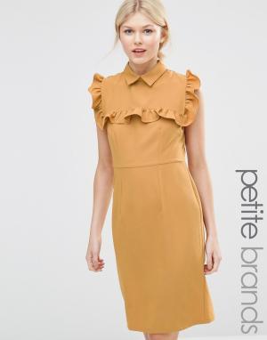 Alter Petite Платье-футляр с оборками на груди. Цвет: желтый