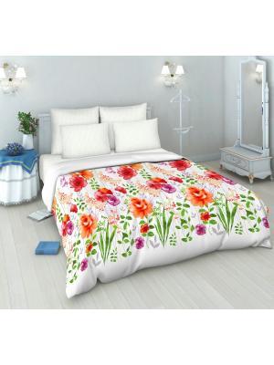 Комплект постельного белья из бязи 1,5 спальный Василиса. Цвет: белый, красный