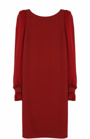 Шелковое мини-платье с длинным рукавом Roberto Cavalli. Цвет: красный