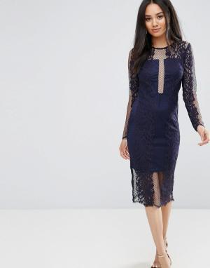 AX Paris Темно-синее кружевное платье миди с длинными рукавами. Цвет: темно-синий