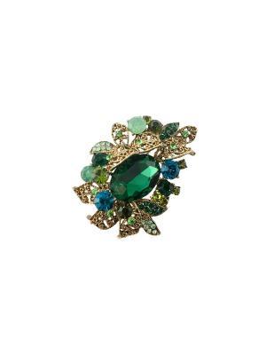 Брошь Miss Bijou. Цвет: лазурный, зеленый, морская волна, темно-зеленый, бирюзовый, светло-зеленый, салатовый, голубой, светло-голубой, золотистый