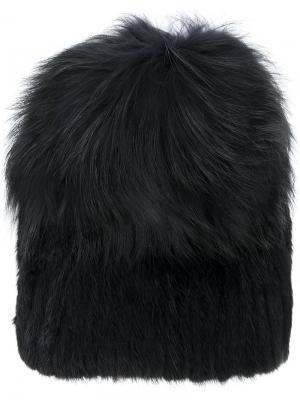 Меховая шапка Yves Salomon. Цвет: чёрный
