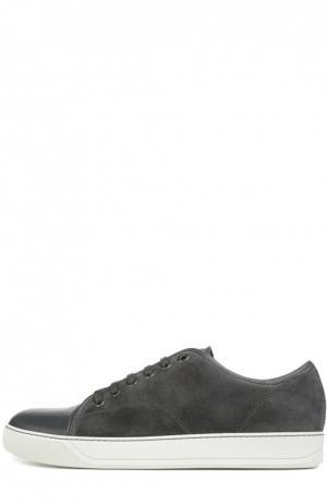 Замшевые кеды с кожаным мысом Lanvin. Цвет: темно-серый