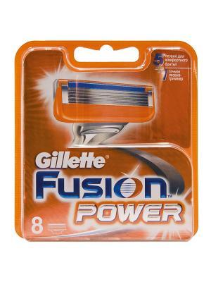 Сменные кассеты для бритья FUSION Power, 8 шт GILLETTE. Цвет: оранжевый