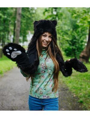 Шапка Черный Волк женская ZVEROSHAPKI. Цвет: черный