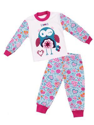 Пижама Апрель. Цвет: голубой, малиновый, розовый, белый, бирюзовый