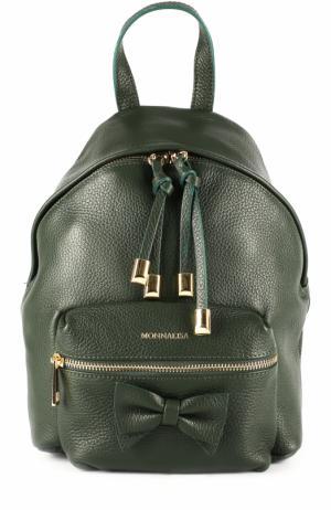 Кожаный рюкзак с бантом Monnalisa. Цвет: хаки