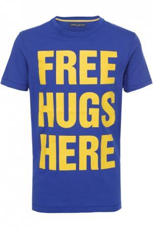 Хлопковая футболка с контрастной надписью Frankie Morello. Цвет: синий