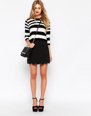 ASOS Мини юбка‑трапеция с фигурным краем Tailored. Цвет: черный