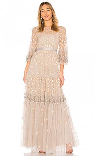 Вечернее платье climbing blossom Needle & Thread. Цвет: беж