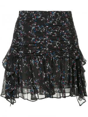 Многослойная юбка с цветочным принтом Tanya Taylor. Цвет: чёрный