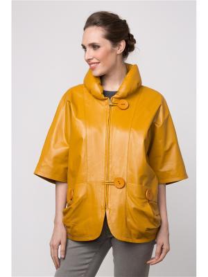 Кожаная куртка MONDIAL. Цвет: горчичный