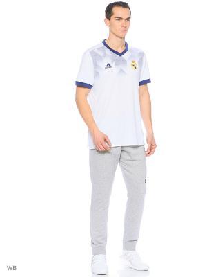 Футболка спортивная Adidas. Цвет: белый, синий