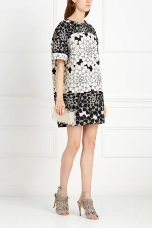 Хлопковое платье Tegin. Цвет: черно-белый