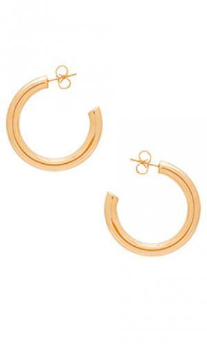 Серьги-кольца mini modern Melanie Auld. Цвет: металлический золотой