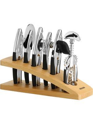 Набор инструментов, хром, 7 пр., NADOBA, серия SIRENA Nadoba. Цвет: черный, бежевый, серебристый