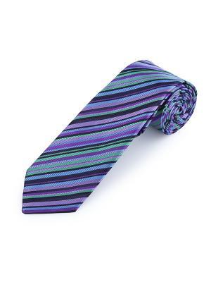 Галстук Assic Stripe Regal Duchamp. Цвет: черный, голубой, светло-зеленый, сиреневый, фиолетовый
