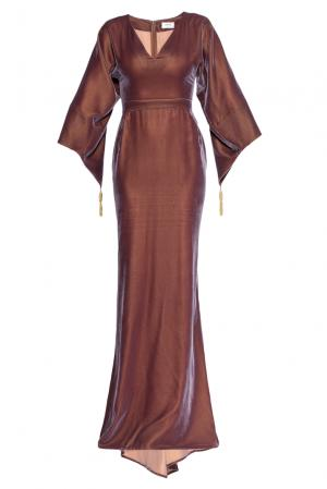 Велюровое платье 160548 Izeta. Цвет: коричневый