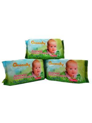 Влажные детские салфетки 72 шт.х 3уп. Greenty. Цвет: белый
