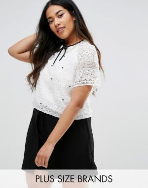 Elvi Plus Lace Top With Embellishment. Цвет: белый