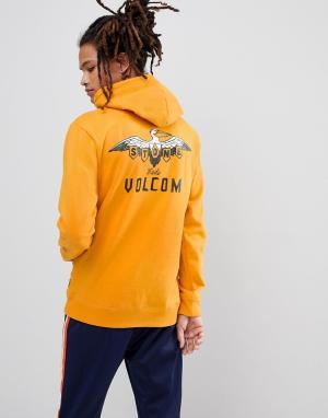Volcom Худи с принтом пеликана на спине. Цвет: желтый
