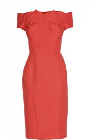 Приталенное шелковое платье с открытыми плечами Zac Posen. Цвет: коралловый