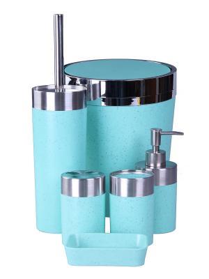 Набор для ванны 6 предметов: дозатор,подставка под зубные щетки,стакан,мыльница,ершик, ведро PATRICIA. Цвет: голубой