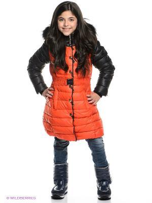 Пуховик MES AMI. Цвет: оранжевый, черный