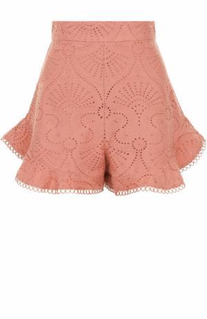 Хлопковые кружевные мини-шорты Zimmermann. Цвет: розовый