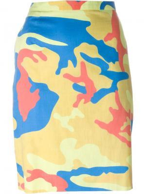 Юбка с камуфляжным принтом Andy Warhol Stephen Sprouse Vintage. Цвет: многоцветный