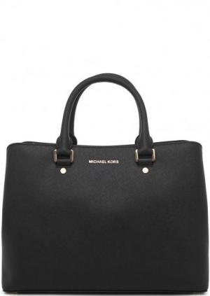 Черная кожаная сумка с плечевым ремнем MICHAEL Kors. Цвет: черный