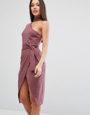 Lavish Alice Платье-футляр с горловиной-чокер. Цвет: фиолетовый