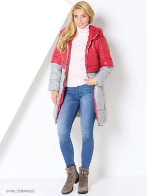 Пальто DizzyWay. Цвет: красный, серый