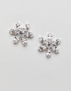 Krystal London Серьги-гвоздики с кристаллами Swarovski. Цвет: очистить