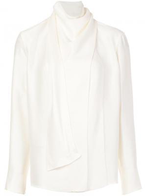 Блузка с драпированной горловиной и длинными рукавами Barbara Casasola. Цвет: белый
