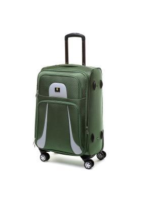 Чемодан-дорожная сумка  на колесиках, размер L, 87.7 л Sun Voyage. Цвет: зеленый