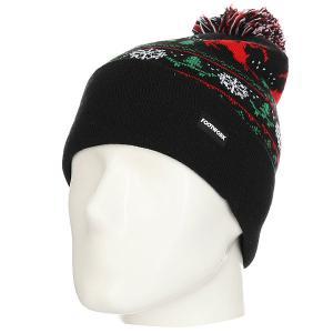 Шапка  Pom-pon Xmas Hat Black Footwork. Цвет: черный,красный,зеленый