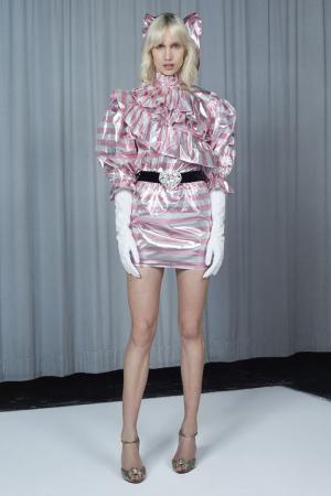 Платье из ламе в полоску Alessandra Rich. Цвет: розовый