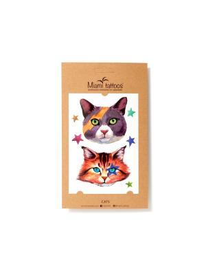 Акварельные переводные тату  Miami Tattoos Cats. Цвет: черный, оранжевый, синий