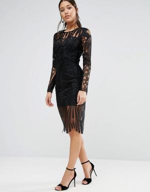 ASOS Платье миди с длинными рукавами и кружевом. Цвет: черный